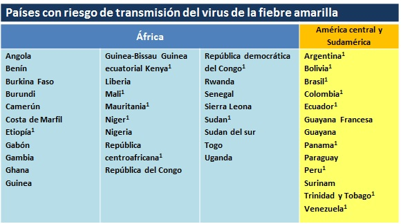 paises con riesgo de transmision fiebre amarilla