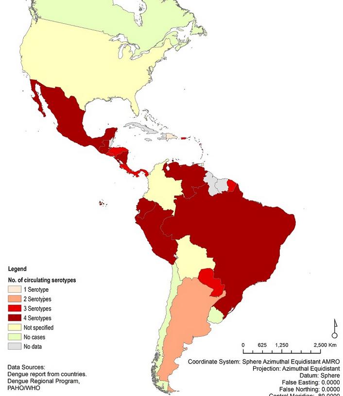 dengue distribucion serotipos en america